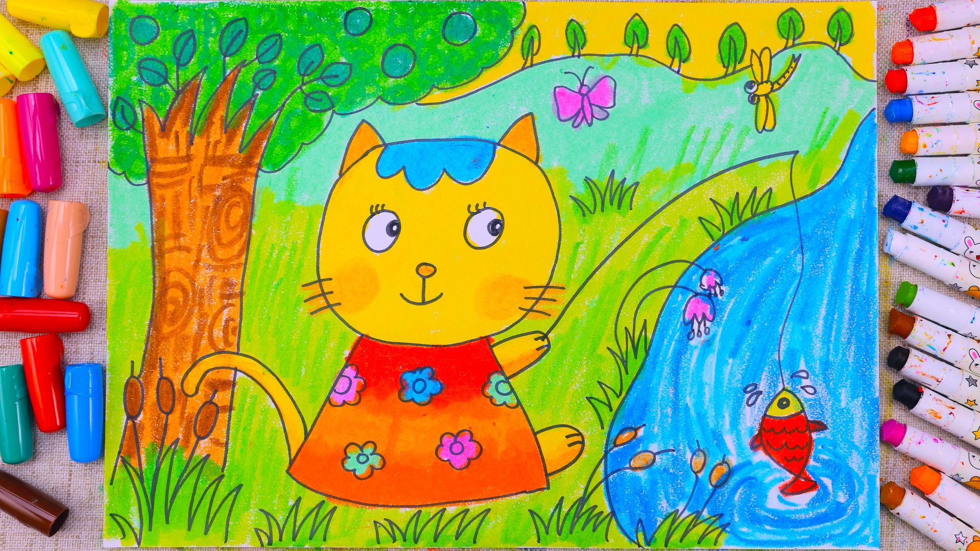 小爱的手作日记 儿童画小猫钓鱼-小爱的简笔画-淘趣工坊