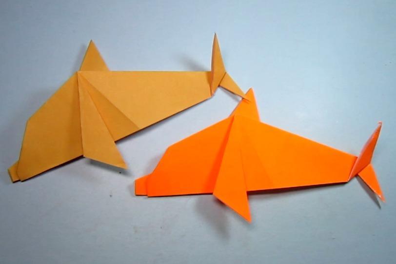 纸艺手工折纸小海豚,一张纸学会简单又漂亮的小动物海豚的折法