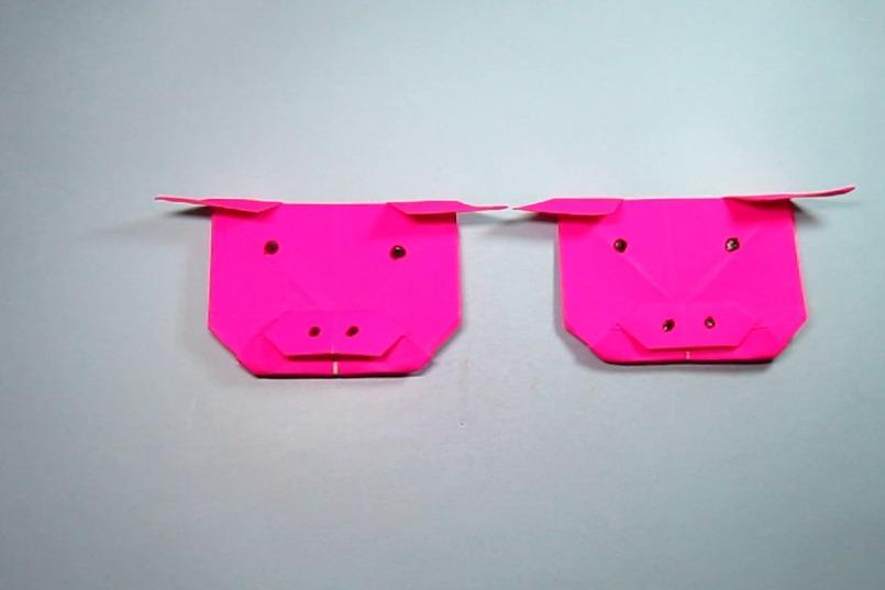 视频:儿童手工折纸简单的猪头,一张纸就能折出超可爱的猪头
