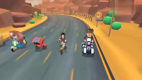 熊出没奇幻空间光头强开着赛车逃跑熊大的机器人能追上他吗