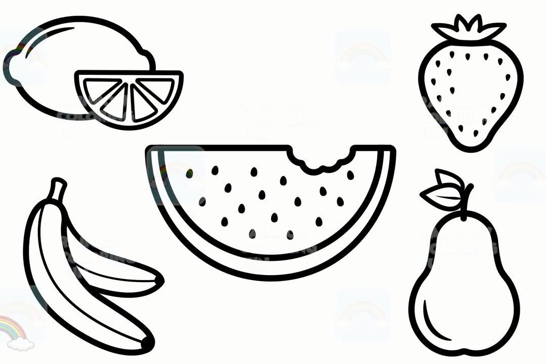 早亲子教教孩子认识柠檬西瓜香梨草莓香蕉等水果和学它们的简笔画