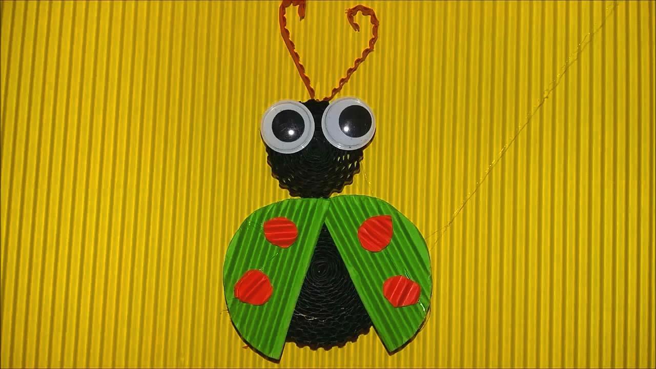 儿童手工diy,用瓦楞纸制作甲壳虫的简单方法,适合孩子们学习