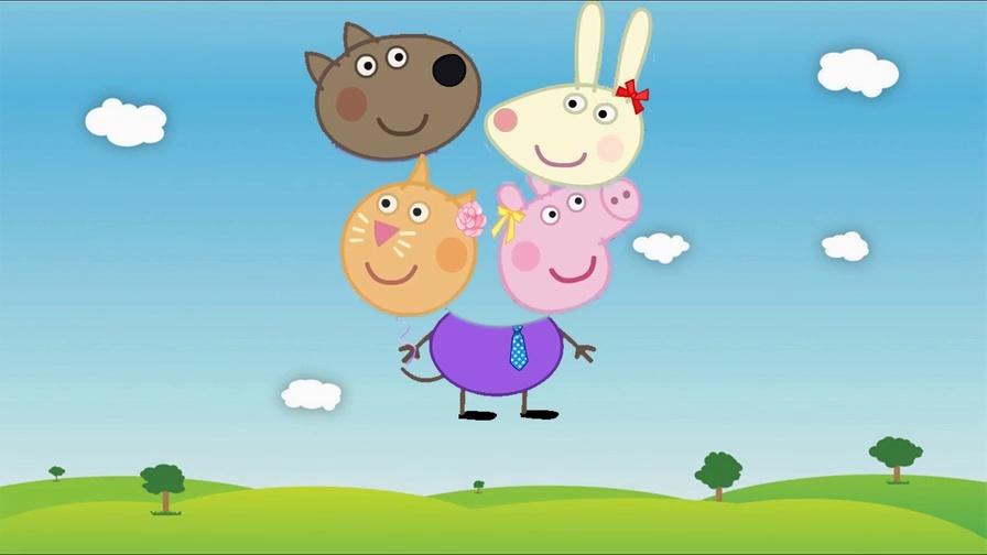 益智儿童动画-小猪佩奇和小伙伴换头