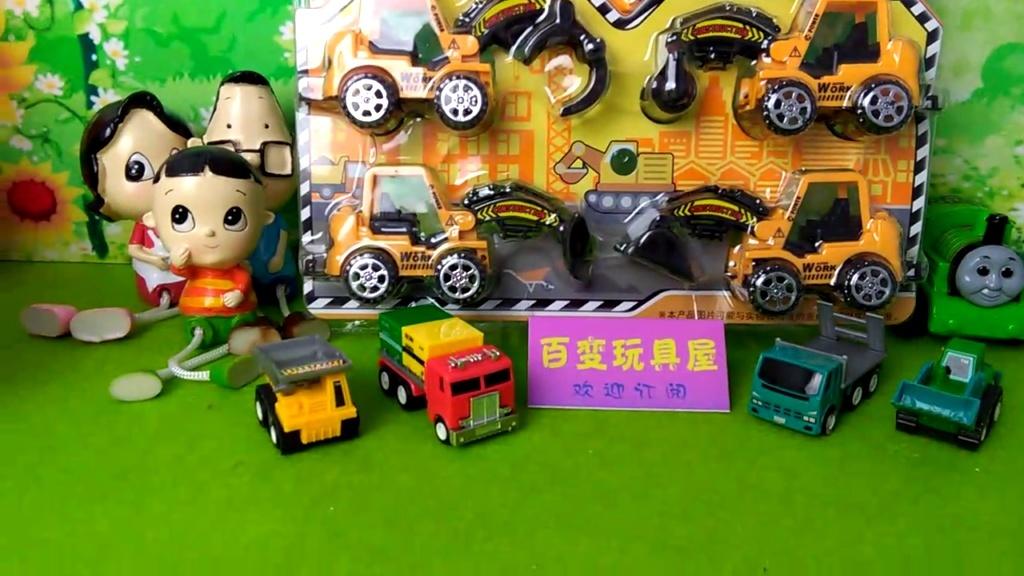 工程车玩具 迷你特工队动画片 玩具拆箱 托马斯和他的朋友们图片