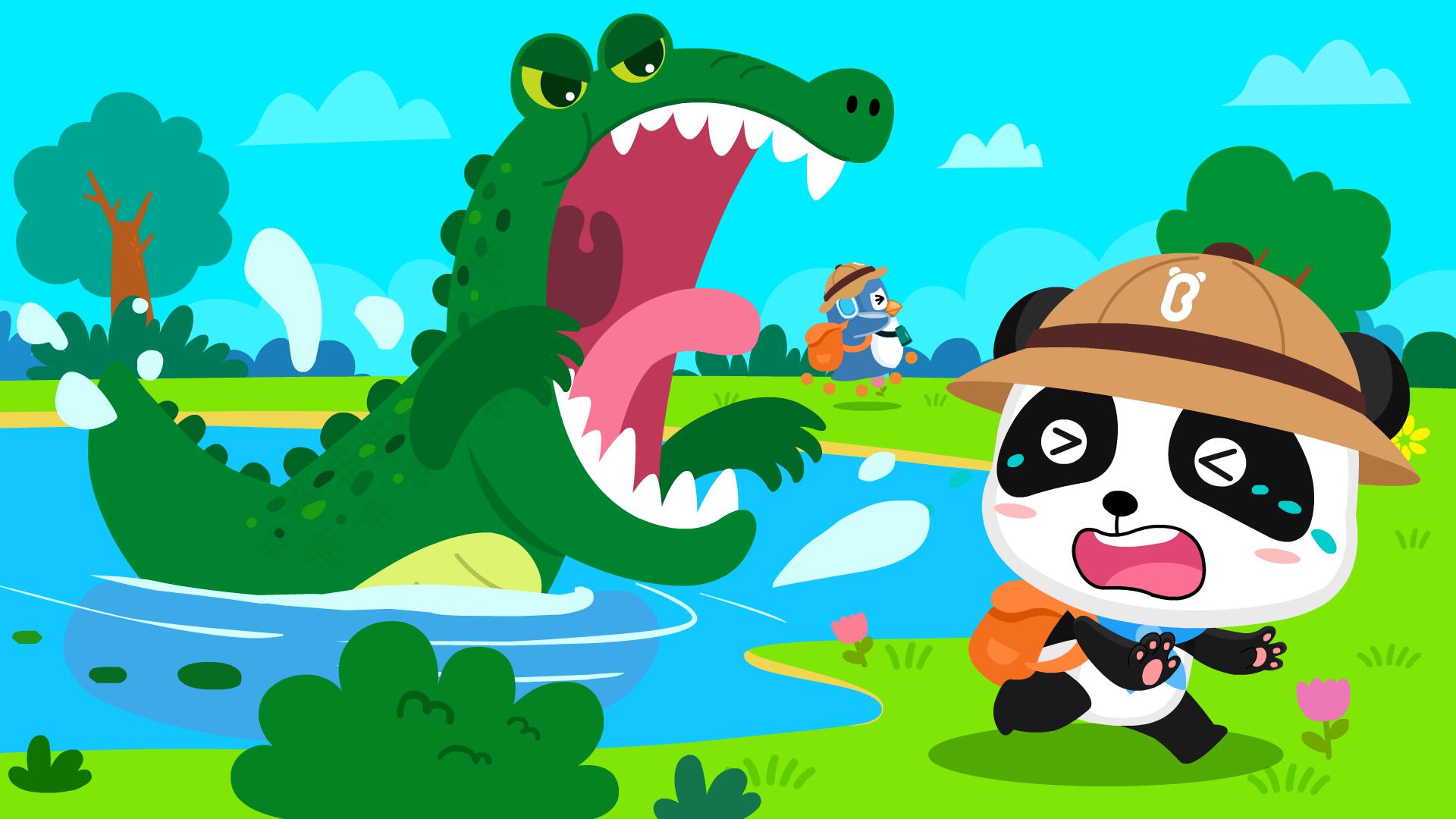 宝宝巴士之动物世界森林探险队遇到鳄鱼会发生什么有趣的故事