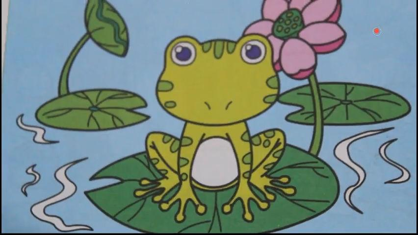 2-6岁幼儿园宝宝简笔画涂色 青蛙 小蝌蚪找妈妈故事