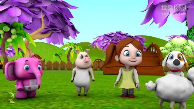 学动物的叫声和农场的动物们的童谣的小树3d幼儿园的歌
