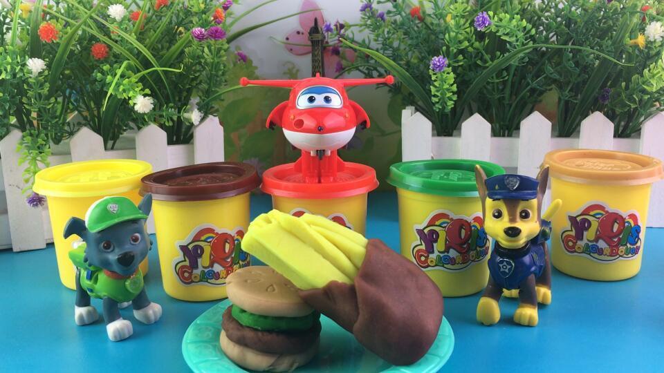 超级飞侠diy黏土制作汉堡包薯条玩具