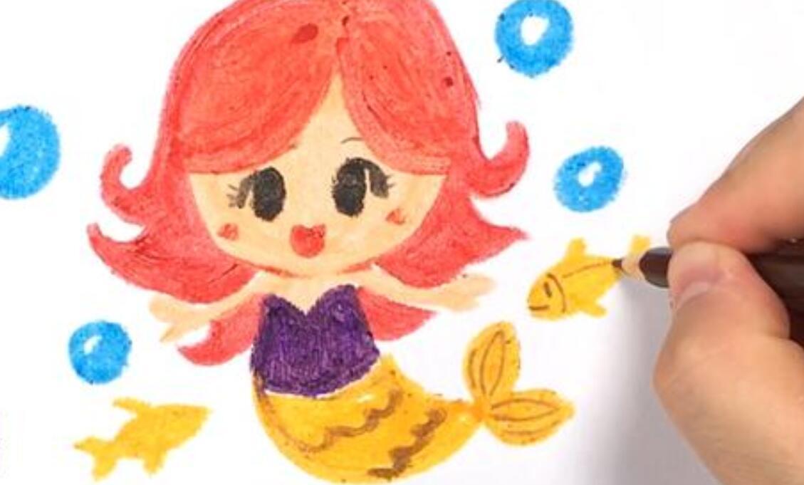 一分钟简笔画:几笔教你画出可爱的美人鱼