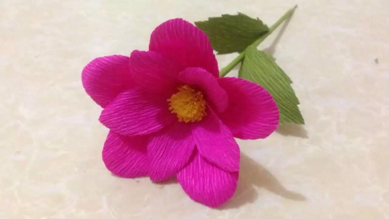 粉色小花 皱纹纸制作教学视频 diy手工制作 神奇的手工艺品