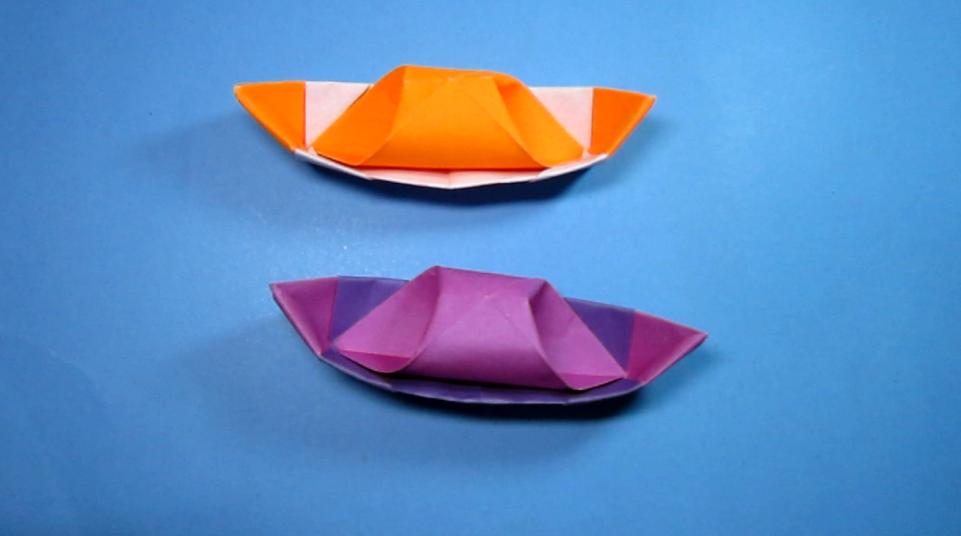 纸艺手工折纸小船,简单又漂亮纸船的新折法