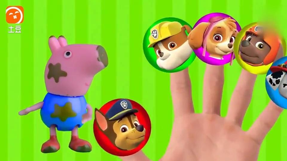 小猪佩奇一家和汪汪队立大功狗狗学唱英文儿歌, 手指歌