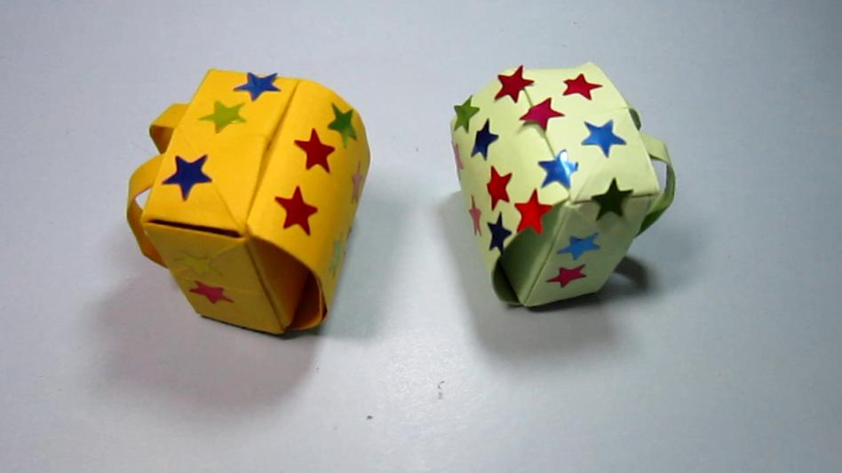 儿童手工折纸大全:小书包的折法教程