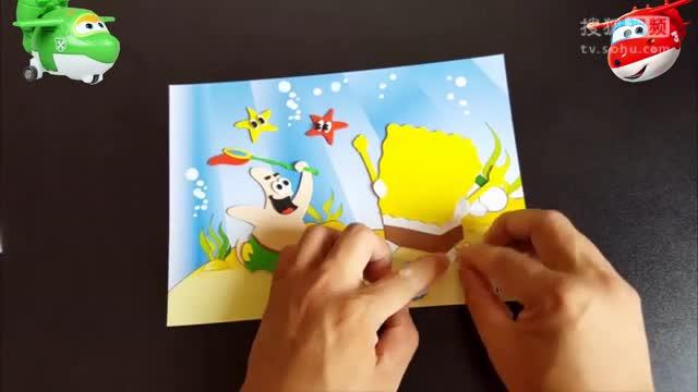 1313海绵宝宝3d立体贴画 亲子游戏手工制作