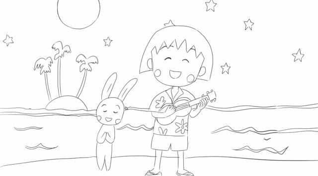 [小林简笔画]绘画动画片《樱桃小丸子》中可爱的小丸子与兔子简笔.