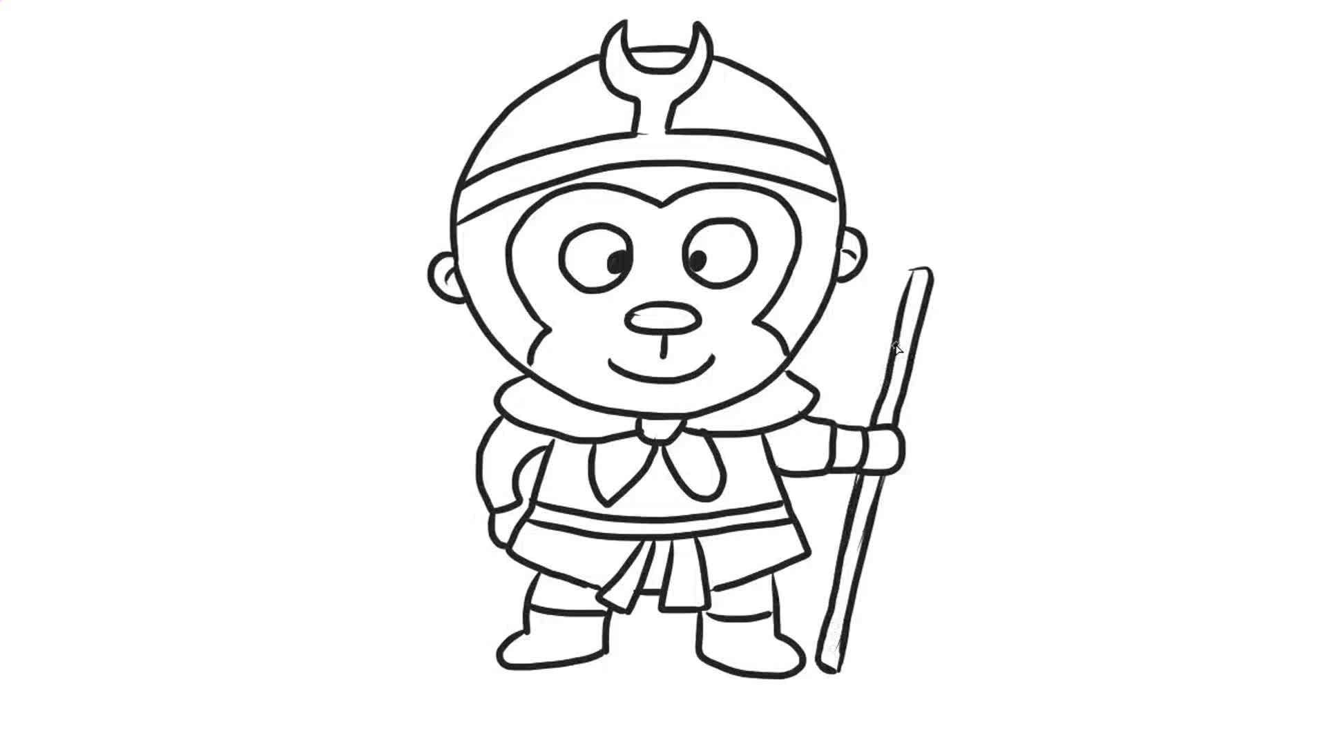 简单的孙悟空幼儿亲子简笔画 宝宝轻松学画画