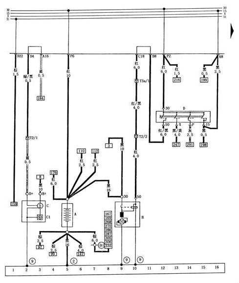 桑塔纳2000gsi 充电系电路
