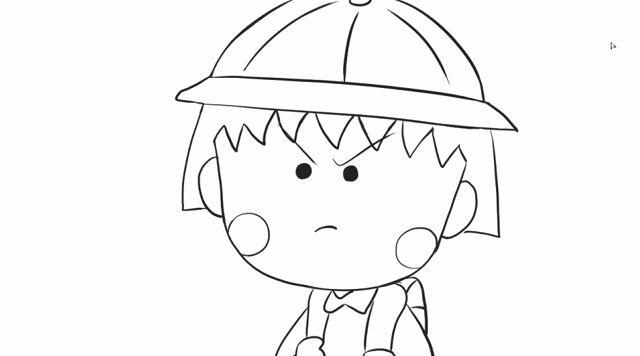 [小林简笔画]绘画动画片《樱桃小丸子》中可爱的小丸子卡通动漫.