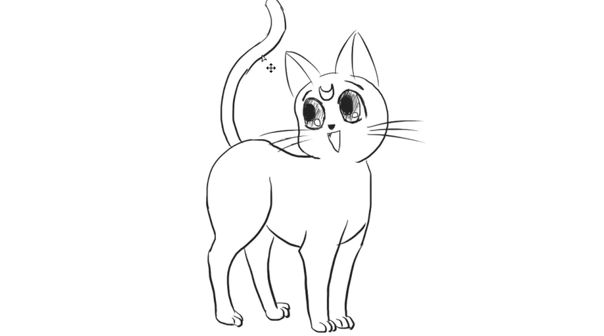 [小林简笔画]动画美少女战士水冰月的猫咪露娜的简笔画画法