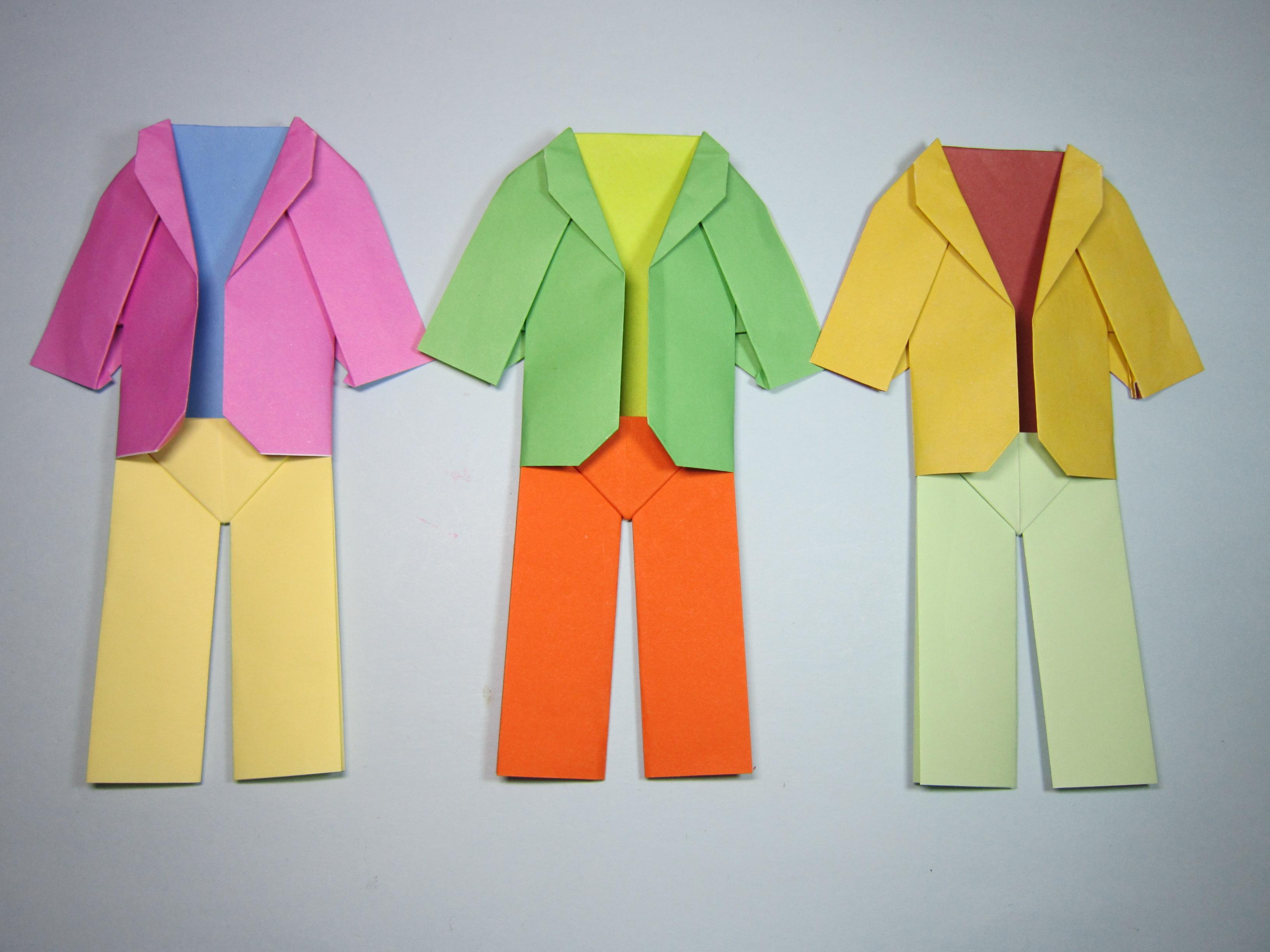 儿童手工折纸一套服装,简单衣服和裤子的折法,diy手工制作-手工.