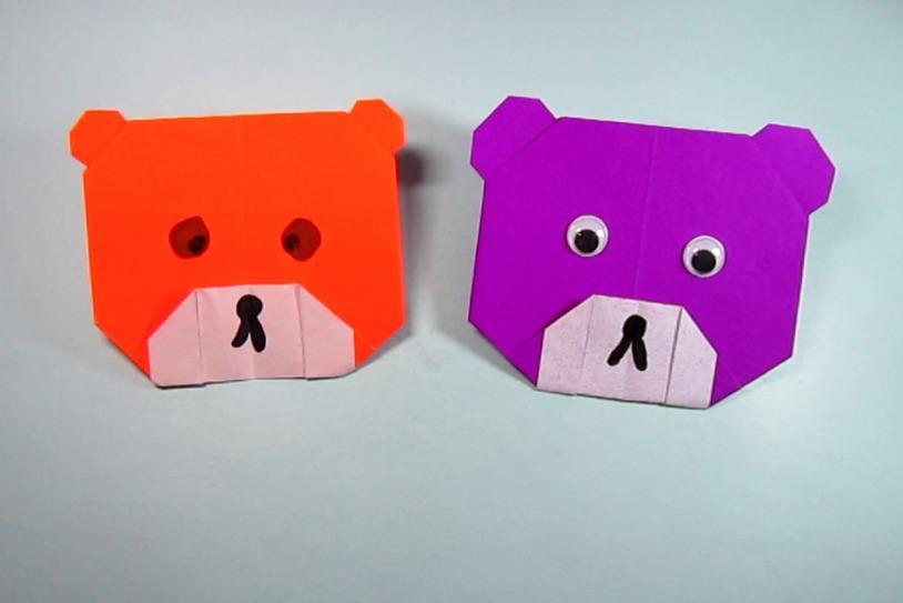视频:儿童手工折纸小动物熊,一张纸就能折出简单又可爱的小熊头
