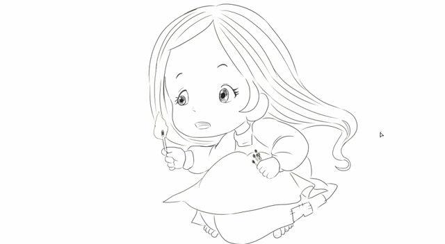 绘画儿童早教亲子故事中的卖火柴的小女孩卡通动漫.