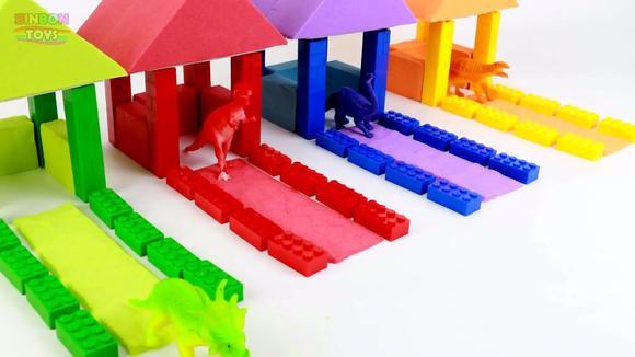 儿童创意手工用太空沙和乐高玩具搭建恐龙凉亭