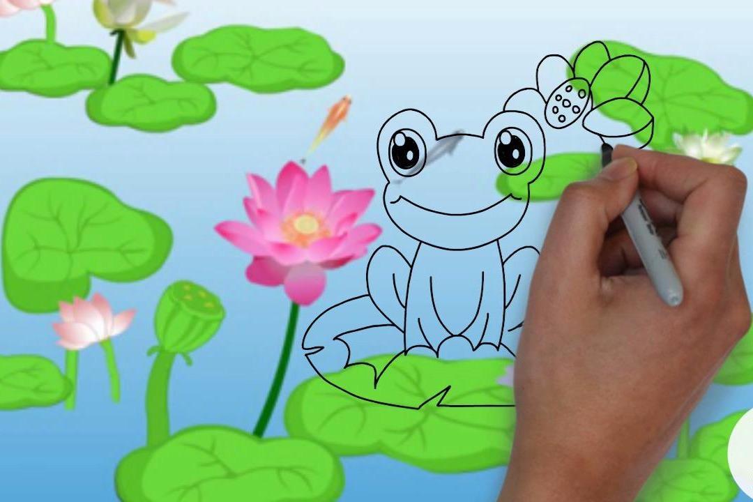 手绘简笔画,小青蛙跳荷叶,听儿歌学画画!