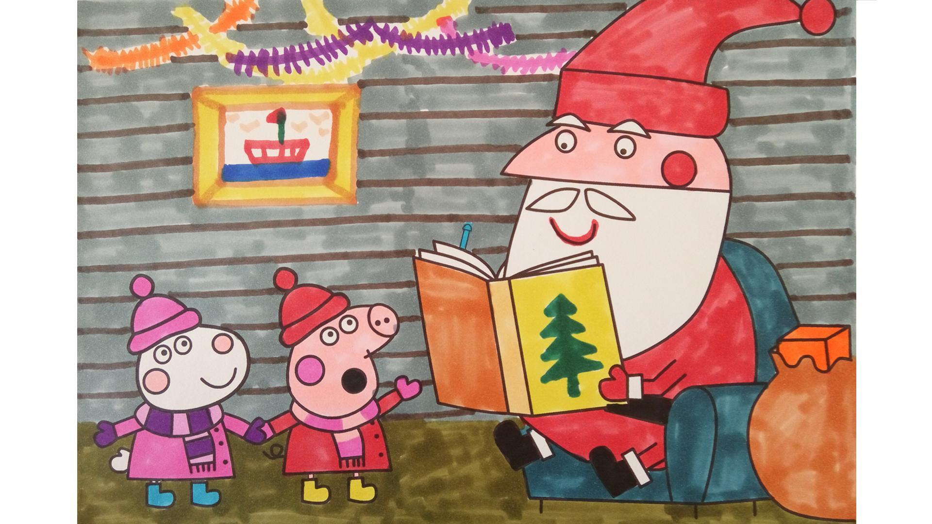 幼儿园教案_圣诞老人简笔画:给小孩礼物