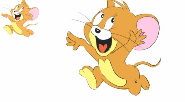 儿童绘画动画片《猫和老鼠》(tom and jerry)中可爱小老鼠jerry卡通.