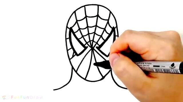 幼儿简笔画教程,简单一步一步画蜘蛛侠头像