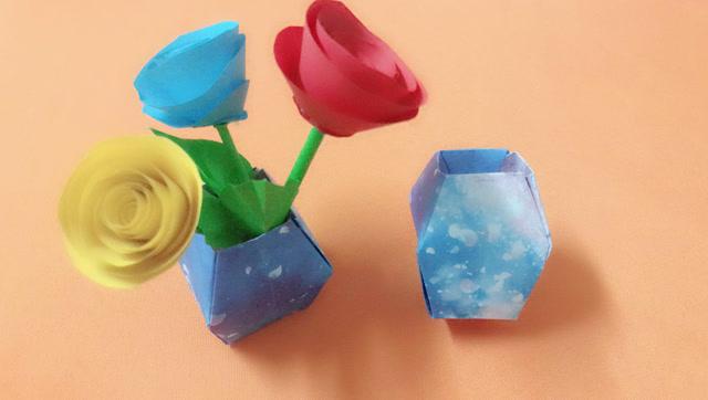 幼兒園親子手工,簡約折紙花瓶,手把手教會你