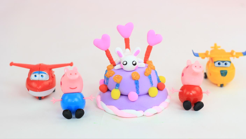 创意彩泥粘土玩具制作兔子蛋糕