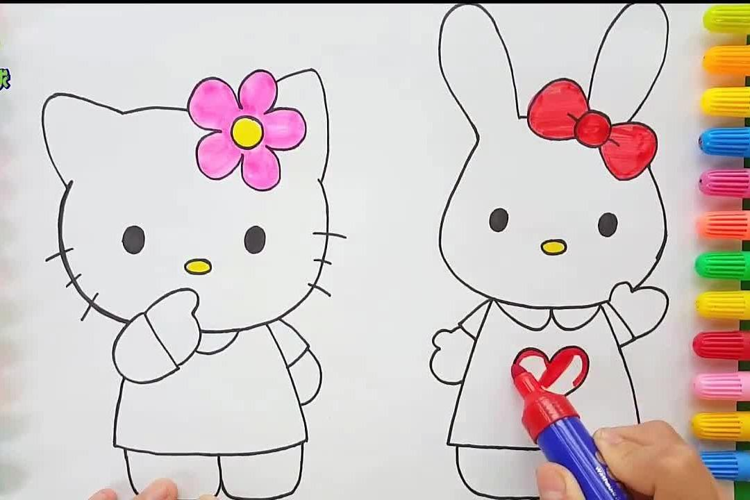 视频:给hellokitty简笔画涂色