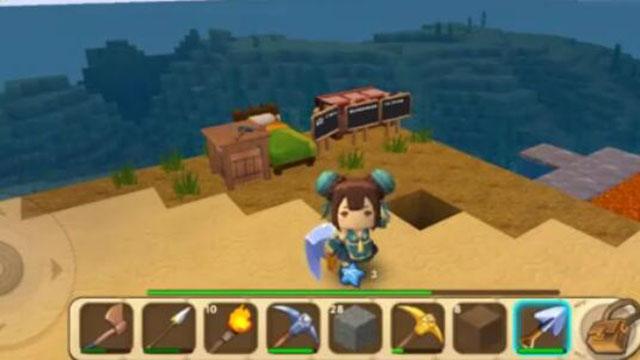 视频-迷你世界海岛生存:制作了钻石钻头和钻石斧子