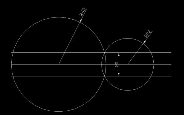 CAD画图;两圆的切线距离和两圆半径画球cad知道图片
