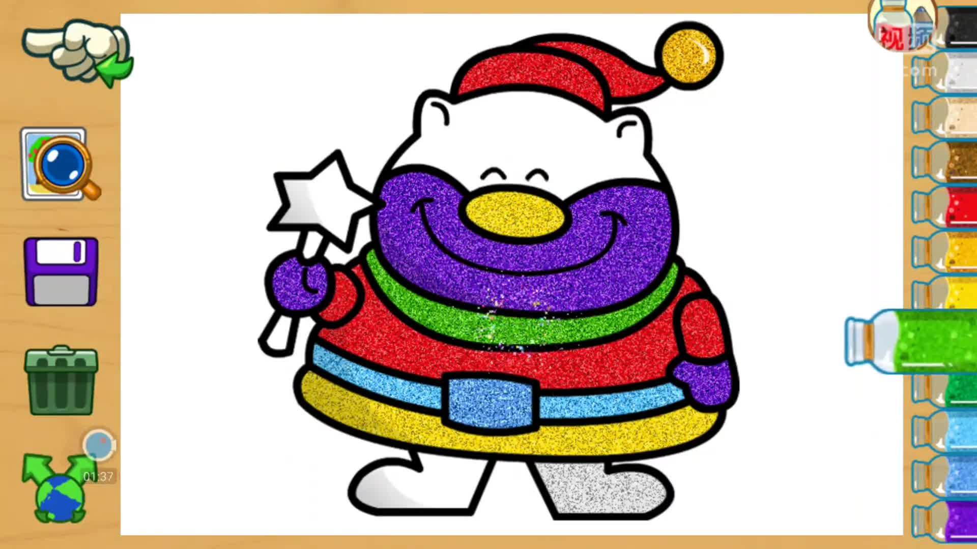 儿童爱涂色 圣诞节小熊 儿童学画画沙画 水彩画 亲子智力小游戏.