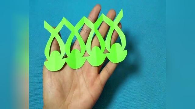 剪纸圆形菱形花边图案 四连剪纸教程大全儿童亲子手工diy教学
