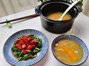 减脂早餐第59天:大半锅粥,还有牛肉和蔬菜,营养师竟然说吃少了