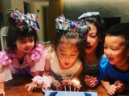 贾静雯为二女儿庆生,四岁咘咘终于戒奶成功