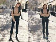黑色休闲裤 黑色打底袜,粗腿女生冬季这样搭,温暖又显瘦!