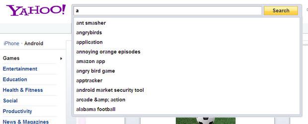 雅虎应用程序的搜索建议提供应用程序特定的关键字建议输入一个字符。