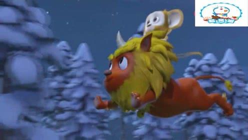 熊熊乐园2季:毛毛和小年兽玩的很开心,小年兽救了毛毛还带着它飞!