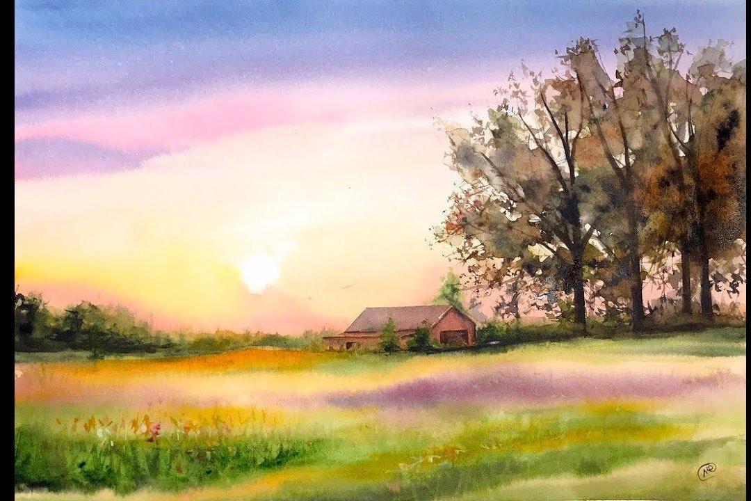 視頻:鄉村水彩風景繪畫視頻教程,想學的看過來