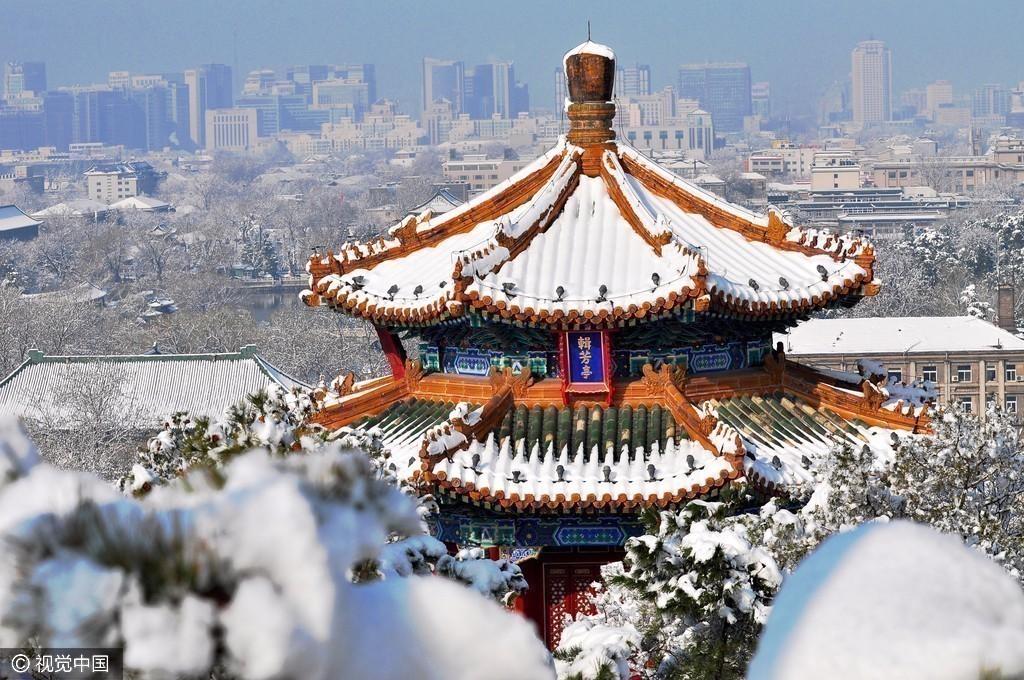 貼圖園地  北京時間訊 20日晚間,北京迎來今年冬天的第一場雪.