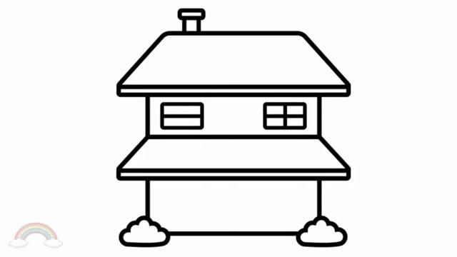 幼兒房子簡筆畫,水彩筆畫一座簡筆畫三層小別墅和色彩搭配方法