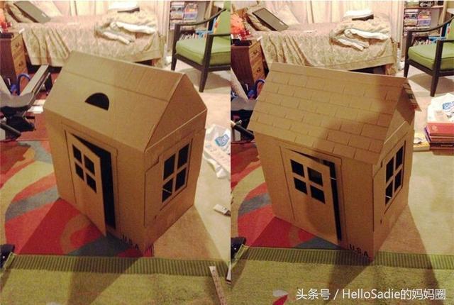 大紙箱子別扔,讓老爸給孩子做房子,親子手工實操教程