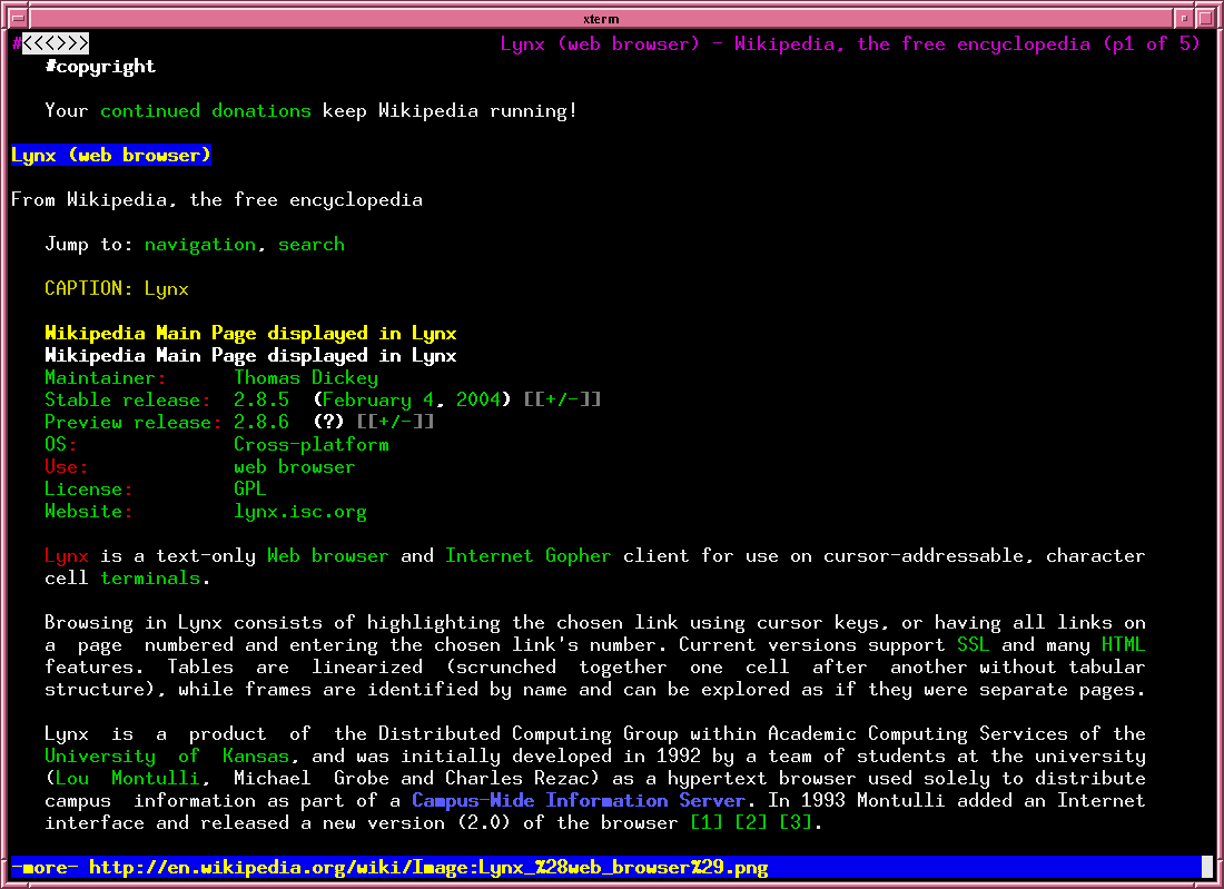 Lynx browser screenshot