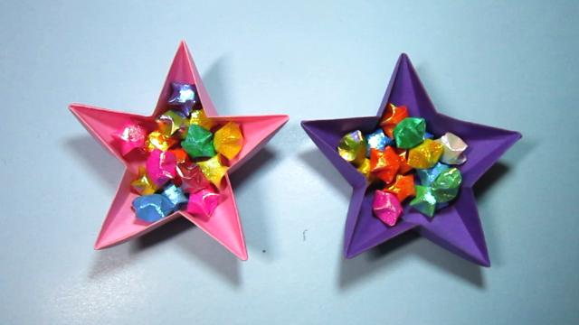视频:儿童手工折纸收纳盒 五角星礼品盒子的折法教程