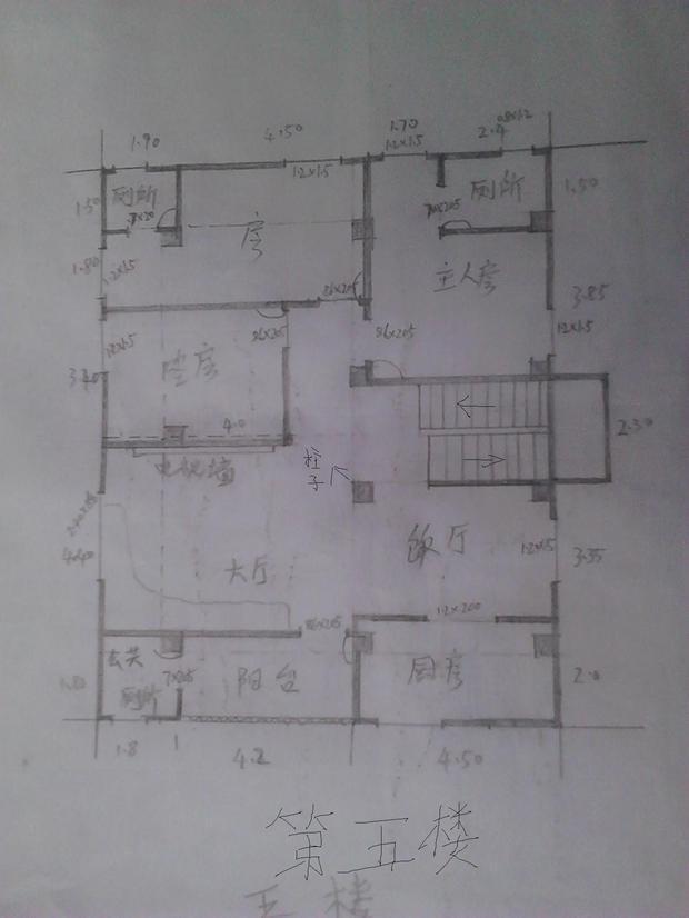 求高人幫忙在設計這套兩層復式樓房的平面設計圖!